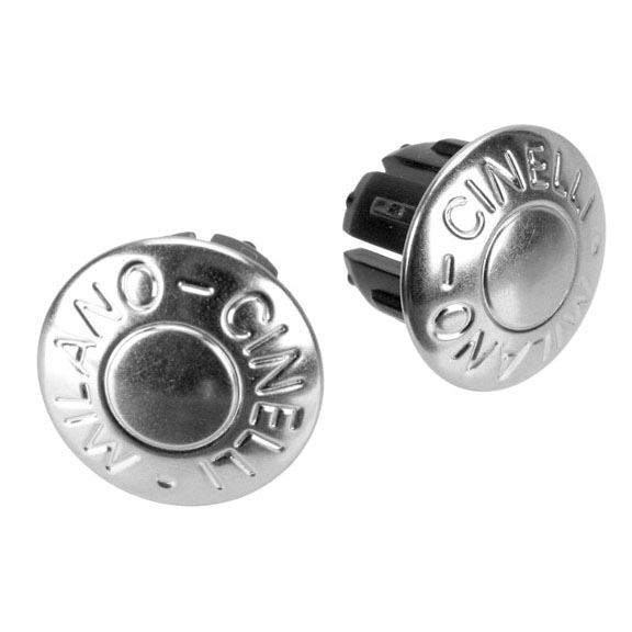 Cinelli Milano bar-end plugs, metal silver pair