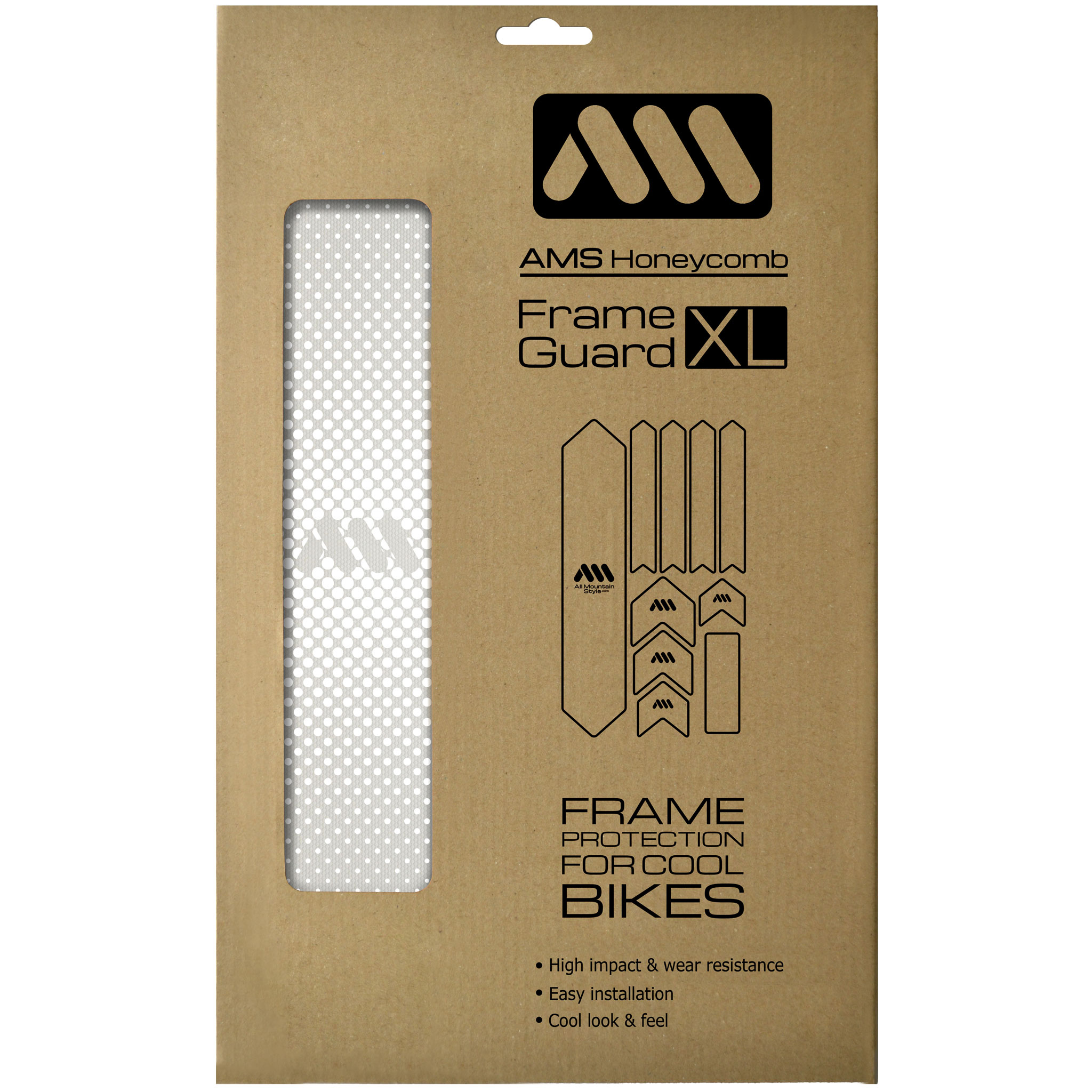 All Mountain Style Extra Honeycomb Frame Guard, Drops/White