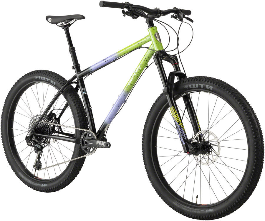 "All-City Electric Queen Bike - 27.5"", Steel, Blue/Lime Splatter, Large"