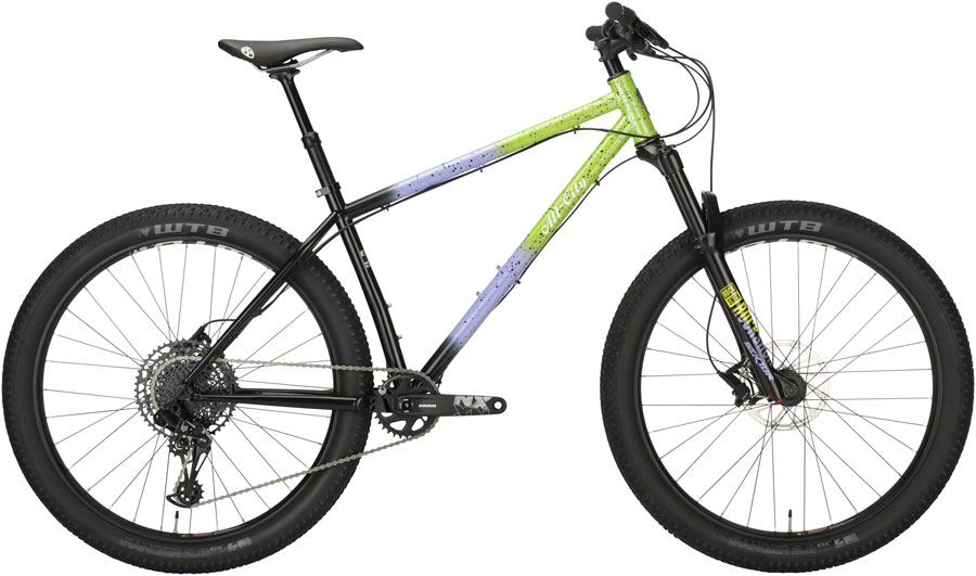 "All-City Electric Queen Bike - 27.5"", Steel, Blue/Lime Splatter, Small"