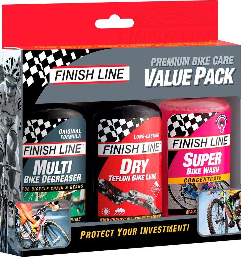 Finish Line Bike Care Value Pack, Includes DRY Lube, EcoTech Degreaser and Super Bike Wash