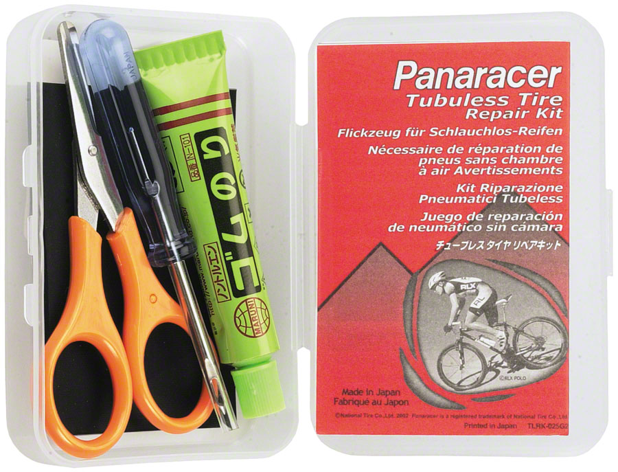 Panaracer Tubeless Patch Kit to Repair Punctures (up to 3mm) Includes: needle, scissors, rubber cement, and rubber piece (Works with all UST tires)