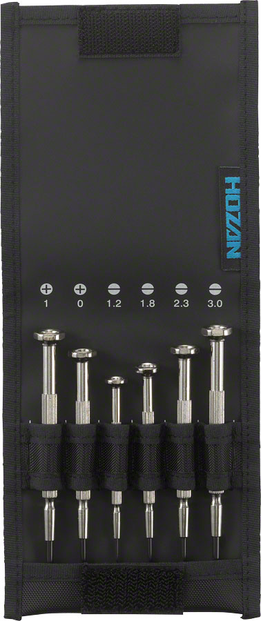 Hozan D-20 Precision Screwdriver Set, 6-piece, Silver, With Case